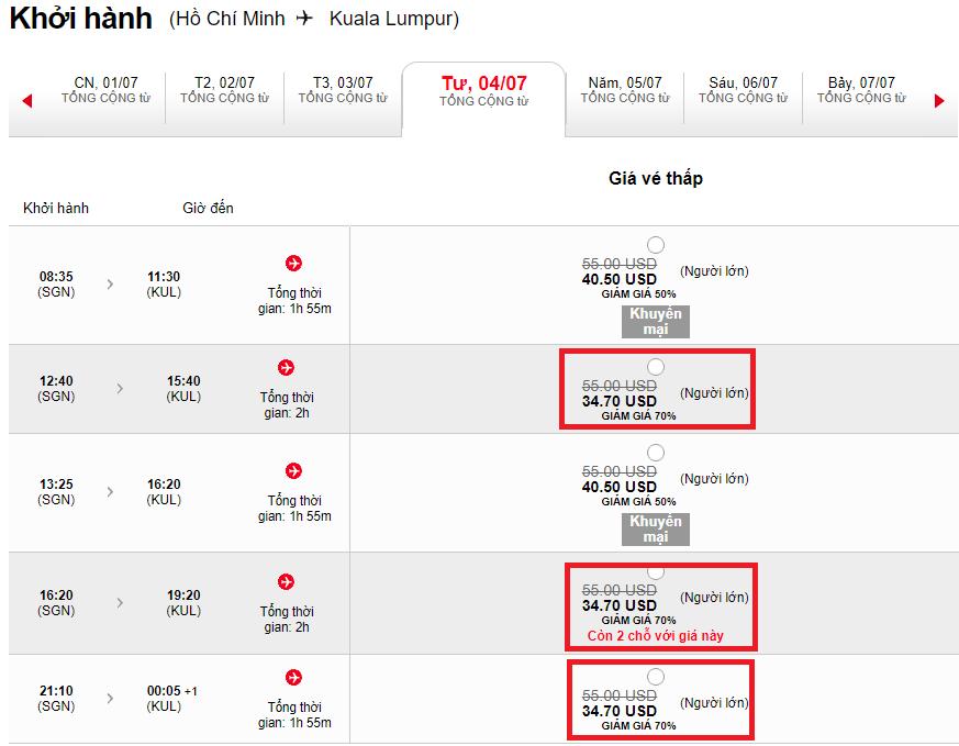 Vé máy bay Air Asia giảm 70%