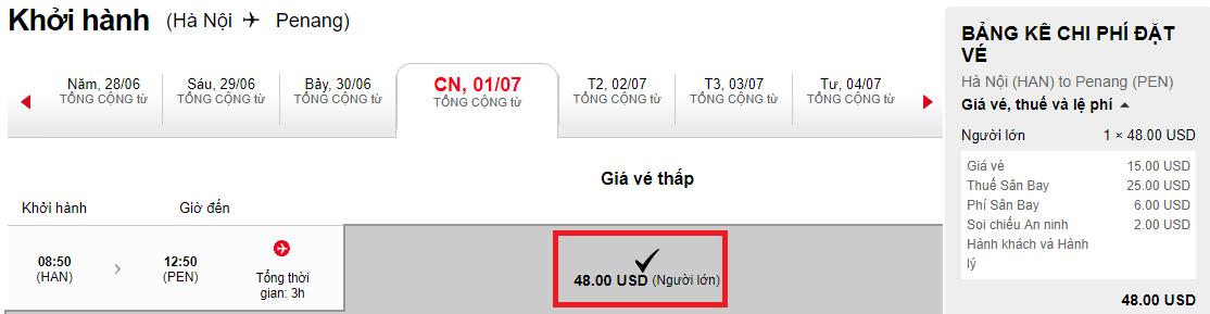 Vé máy bay Hà Nội đi Penang