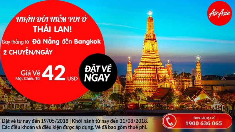 Đặt vé máy bay Đà Nẵng đi Bangkok - Air Asia