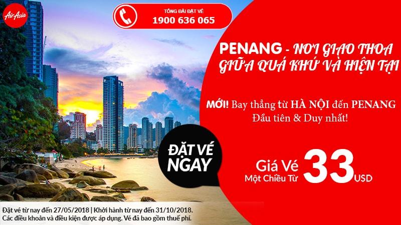 Đặt vé Air Asia đi Penang giá rẻ