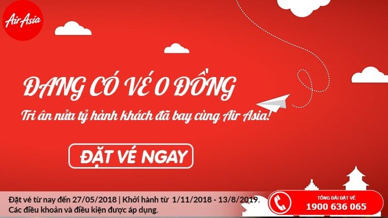 Air Asia mở bán vé 0 đồng