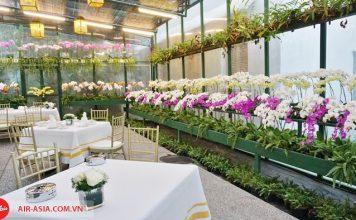 Quán cà phê Orchid Tea Lounge vơi khôn gian được hoa lan bao phủ